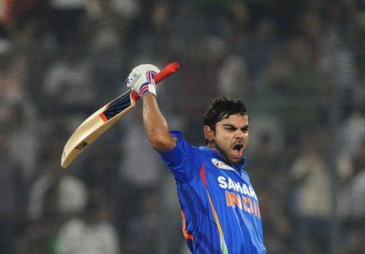 Virat Kohli celebrates after scoring a century during the Asia Cup match against Pakistan in Dhaka on Sunday. Just when Indian cricket was pondering a future without its ageing batting superstars, Kohli has emerged as the man ready to step in and take charge