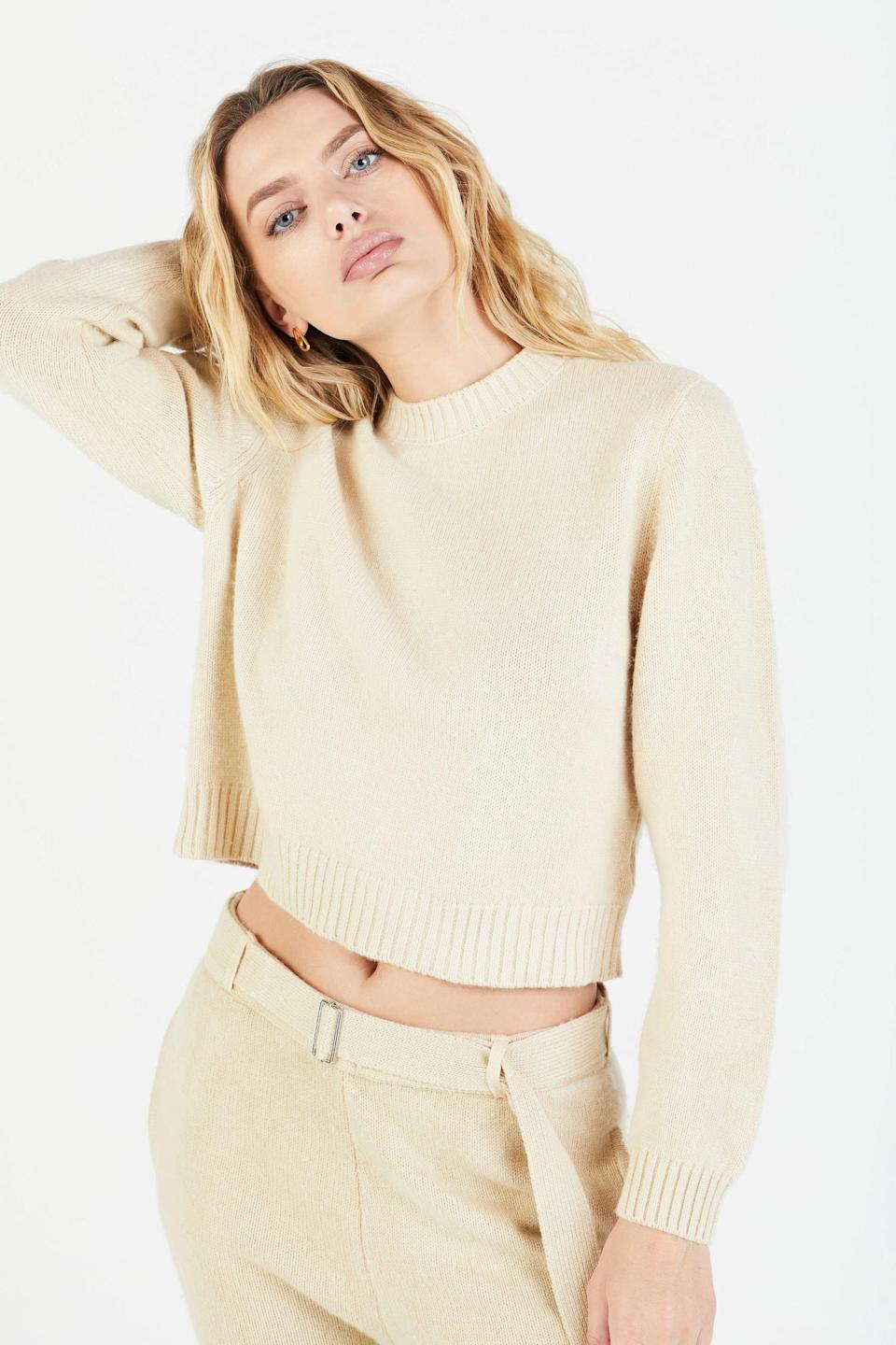 """<p>""""In my opinion, one of the best gifts you can give yourself is a zero-think, no-fuss outfit. I feel like the <span>Cotton Citizen Lima Crew</span> ($450) and matching <span>Cotton Citizen Lima Sweats</span> ($495) in oatmeal tint will also look pretty great with a glass of rosé in hand for a <a href=""""https://www.popsugar.com/fashion/Valentine-Day-Outfits-21586777"""" class=""""link rapid-noclick-resp"""" rel=""""nofollow noopener"""" target=""""_blank"""" data-ylk=""""slk:Valentine's Day at-home selfie"""">Valentine's Day at-home selfie</a>. Coming soon."""" - SW</p>"""