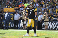 Pittsburgh Steelers quarterback Ben Roethlisberger (7) stands in the end zone in the second half of an NFL football game against the Cincinnati Bengals, Sunday, Sept. 26, 2021, in Pittsburgh. (AP Photo/Don Wright)