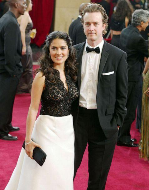 PHOTO: Salma Hayek and Ed Norton attend the 75th Annual Academy Awards at the Kodak Theater on March 23, 2003, in Hollywood, Calif. (Kevin Winter/Getty Images, FILE)