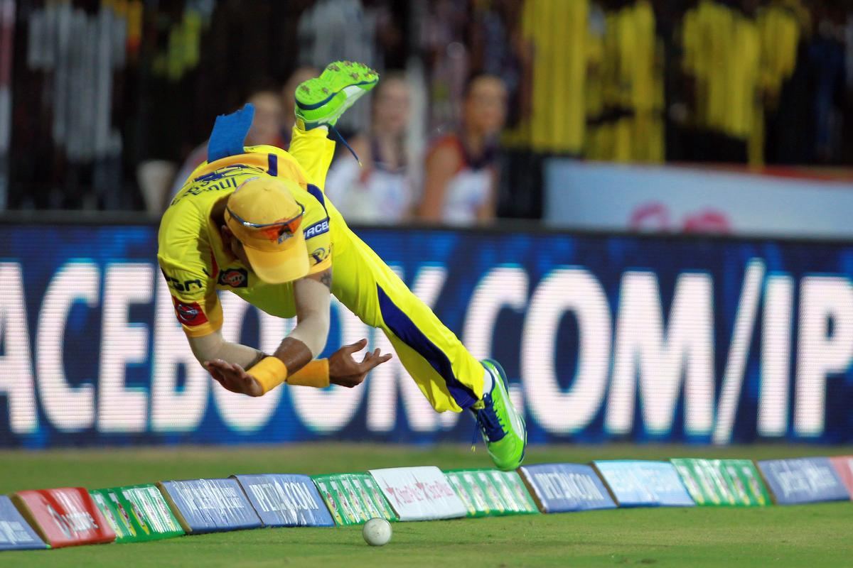 Subramaniam Badrinath dives to save a certain boundary during match 16 of the Pepsi Indian Premier League between The Chennai Superkings and the Royal Challengers Bangalore held at the MA Chidambaram Stadiumin Chennai on the 13th April 2013. Photo by Jacques Rossouw-IPL-SPORTZPICS   .. .Use of this image is subject to the terms and conditions as outlined by the BCCI. These terms can be found by following this link:..https://ec.yimg.com/ec?url=http%3a%2f%2fwww.sportzpics.co.za%2fimage%2fI0000SoRagM2cIEc&t=1506411255&sig=gi7ewO9zm3QsVKsyqdxHNQ--~D