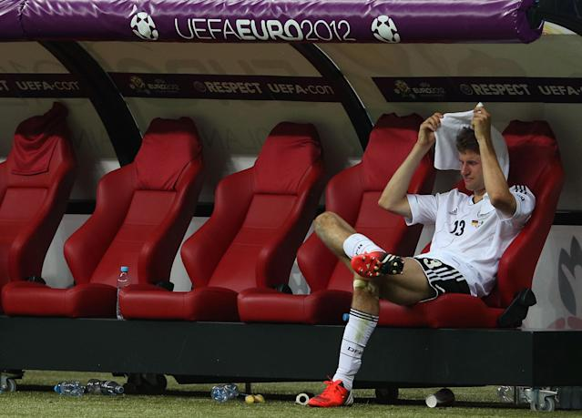 WARSAW, POLAND - JUNE 28: Thomas Muller of Germany shows his dejection after the UEFA EURO 2012 semi final match between Germany and Italy at National Stadium on June 28, 2012 in Warsaw, Poland. (Photo by Joern Pollex/Getty Images)