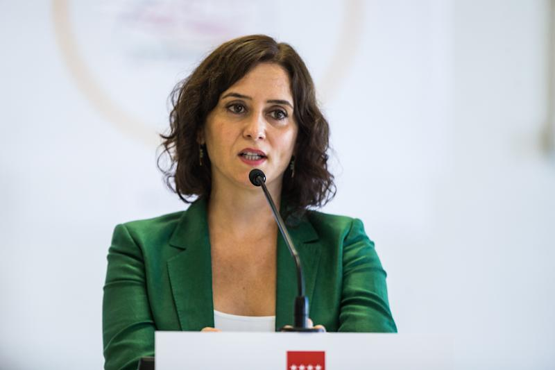 MADRID, SPAIN - SEPTEMBER 08: Isabel Diaz Ayuso, President of the Comunity of Madrid, attends the opening press conference of the school year at the Francisco de Orellana School on September 08, 2020 in Madrid, Spain. (Photo by Joaquin Corchero / AFP7 / Getty Images)