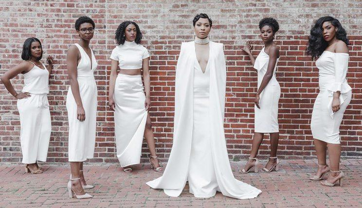 Bride Bria Shelton and her all-white wedding party.