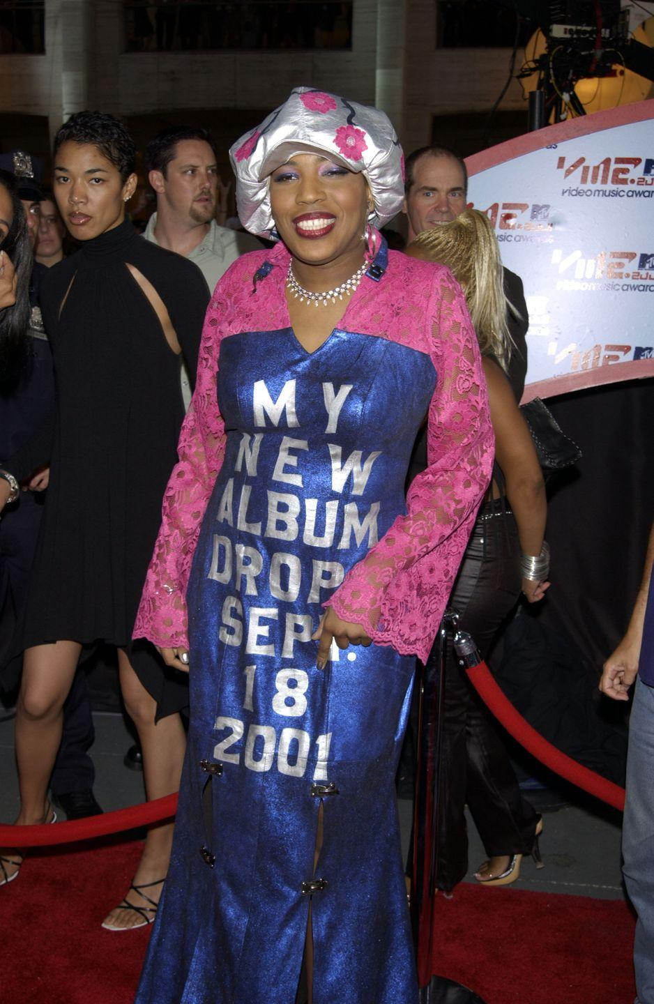 """<p>Macy Gray used the 2001 VMAs to promote her upcoming album in a very literal way. One <a href=""""http://www.mtv.com/news/2292542/vma-wtf-wednesday-macy-gray-sent-a-subtle-marketing-message-at-the-2001-vmas/"""" rel=""""nofollow noopener"""" target=""""_blank"""" data-ylk=""""slk:writer for MTV.com"""" class=""""link rapid-noclick-resp"""">writer for MTV.com</a> said of the ensemble, """"She looks like a Jo-Ann Fabrics (or Mood, for those of you <em>Project Runway</em> fans out there) threw up all over her, and then she held the whole mess together with industrial-strength paper clips."""" Yikes. </p>"""