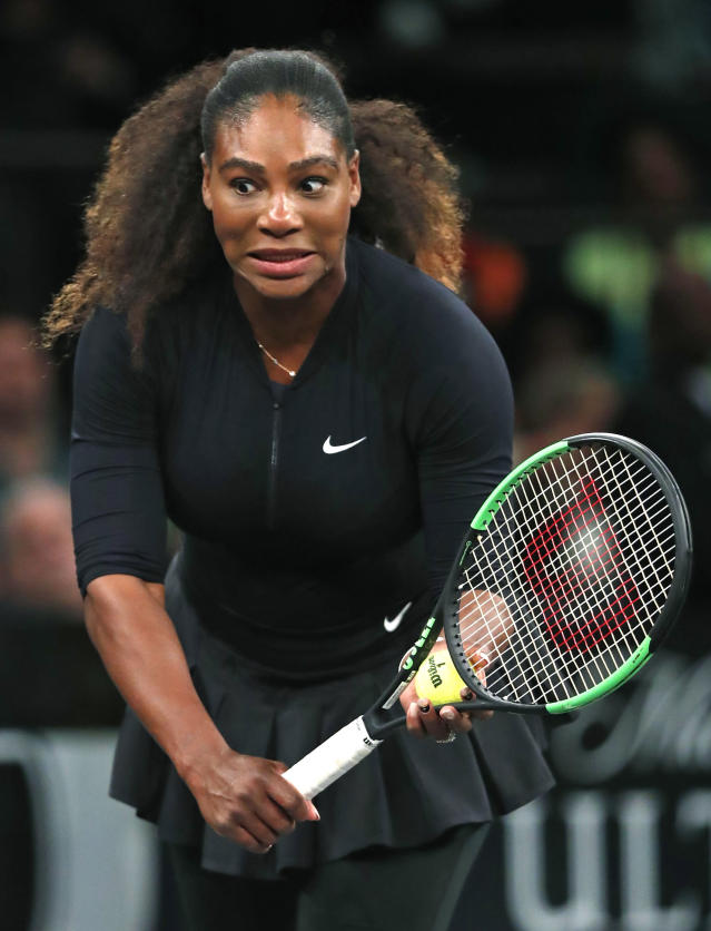 Serena Williams of the United States reacts during a scoring mixup by the chair umpire during her semi-final round against Zhang Shuai of China in the Tie Break Tens tournament at Madison Square Garden, Monday, March 5, 2018 in New York. Williams lost to Zhang and was ousted. The Tie Break Tens' New York event is a one-day day exhibition tournament featuring eight female players competing for a $250,000 winner's prize. (AP Photo/Kathy Willens)