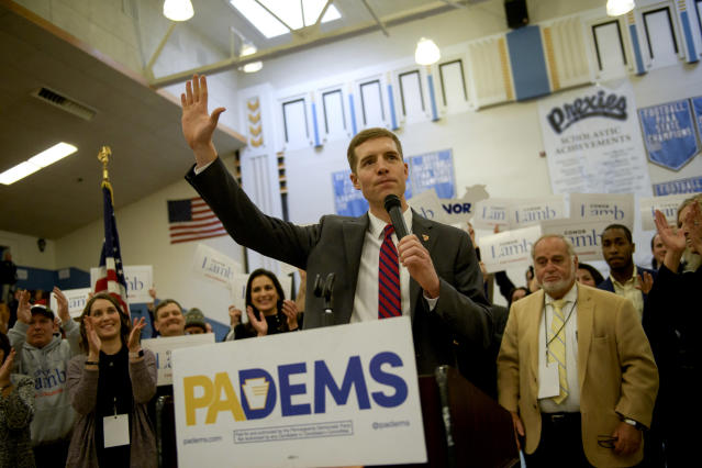 Conor Lamb reacts to winning the Democratic nomination for Pennsylvania's District 18 special election. (Photo: Jeff Swensen for the Washington Post via Getty Images)
