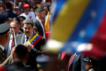 Venezuela's President Nicolas Maduro arrives for a special session of the National Constituent Assembly to present his annual state of the nation in Caracas, Venezuela January 14, 2019. REUTERS/Carlos Garcia Rawlins