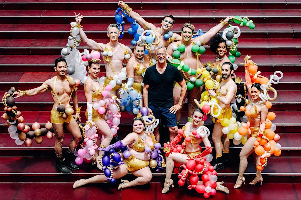 """<p>Tony Award winner Jerry Mitchell hangs with a handful of dancers while filming the finale to <em>Broadway Bares: Twerk from Home</em> in New York City's Times Square. The special will stream from <a href=""""https://broadwaycares.org/pre-event/broadway-bares-2021/"""" rel=""""nofollow noopener"""" target=""""_blank"""" data-ylk=""""slk:broadwaycares.org"""" class=""""link rapid-noclick-resp"""">broadwaycares.org</a> at 9 pm. ET on June 20, and benefits Broadway Cares/Equity Fights AIDS. </p>"""