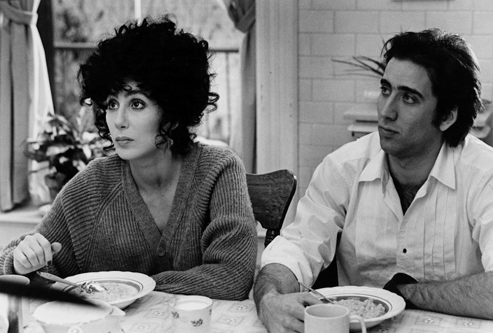 UNITED STATES - DECEMBER 16:  Cher and Nicolas Cage in Moonstruck, a sophisticated romantic comedy.  (Photo by NY Daily News Archive via Getty Images)