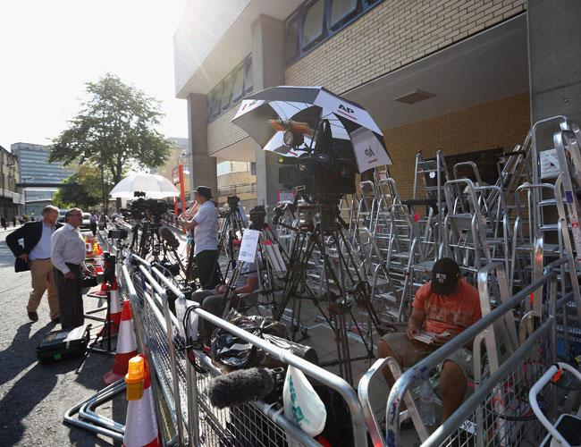 LONDON, ENGLAND - JULY 09: Members of the press mark their positions with aluminum stepladders as they wait outside the The Lindo Wing of St Mary's Hospital in preparation for the birth of the first child of The Duke and Duchess of Cambridge, on July 09, 2013 in London, England. (Photo by Oli Scarff/Getty Images) <br>