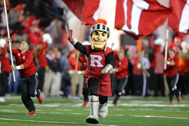 "PISCATAWAY, NJ – SEPTEMBER 30: The <a class=""link rapid-noclick-resp"" href=""/ncaab/teams/rak/"" data-ylk=""slk:Rutgers Scarlet Knights"">Rutgers Scarlet Knights</a> mascot runs onto the field before a game against the <a class=""link rapid-noclick-resp"" href=""/ncaab/teams/oad/"" data-ylk=""slk:Ohio State Buckeyes"">Ohio State Buckeyes</a> on September 30, 2017 at High Point Solutions Stadium in Piscataway, New Jersey. Ohio State won 56-0. (Photo by Hunter Martin/Getty Images)"