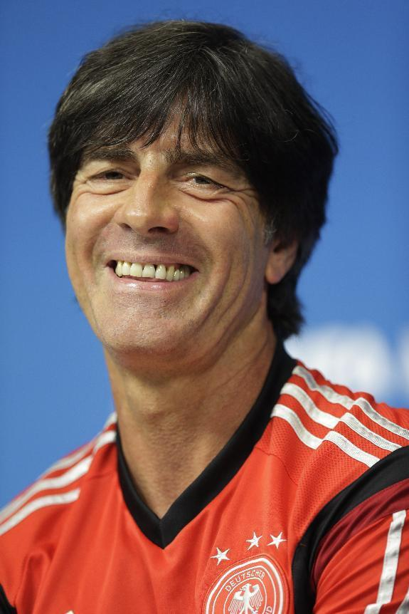 Germany's head coach Joachim Loew attends a press conference prior to a training session in Recife, Brazil, Wednesday, June 25, 2014. Germany will play the United States in group G of the 2014 soccer World Cup on June 26. (AP Photo/Julio Cortez)