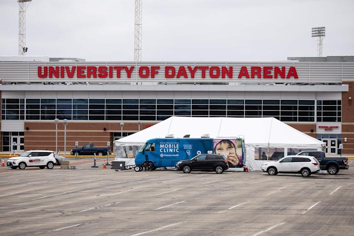 """Premier Health starts a drive through Coronavirus testing site at the University of Dayton on March 17, 2020. <p class=""""copyright"""">Megan Jelinger/Getty Images</p>"""