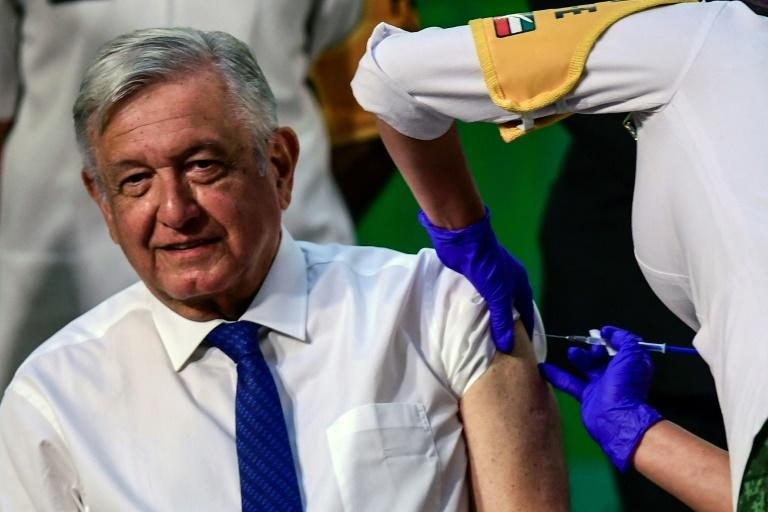 Mexican President Andres Manuel Lopez Obrador received his first dose of the AstraZeneca coronavirus vaccine on April 20