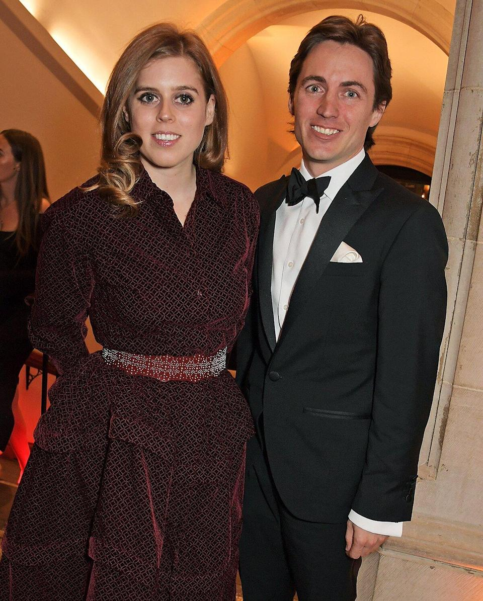 Princess Beatrice of York and Edoardo Mapelli Mozzi attend The Portrait Gala 2019 hosted by Dr Nicholas Cullinan and Edward Enninful to raise funds for the National Portrait Gallery's 'Inspiring People' project at the National Portrait Gallery on March 12, 2019 in London, England