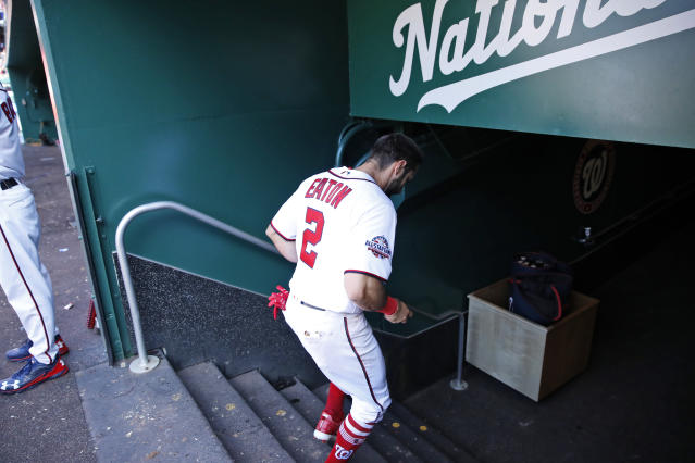 Adam Eaton's surgery leaves a hole in the top of the Nationals' batting order. (AP Photo/Alex Brandon)