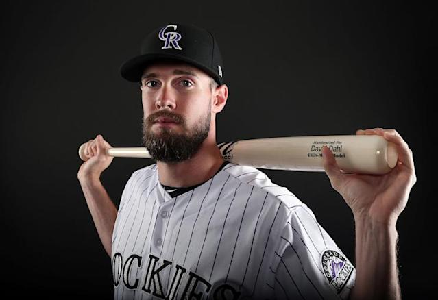 If healthy, David Dahl should have a big role with the Rockies in 2018. (Getty Images)