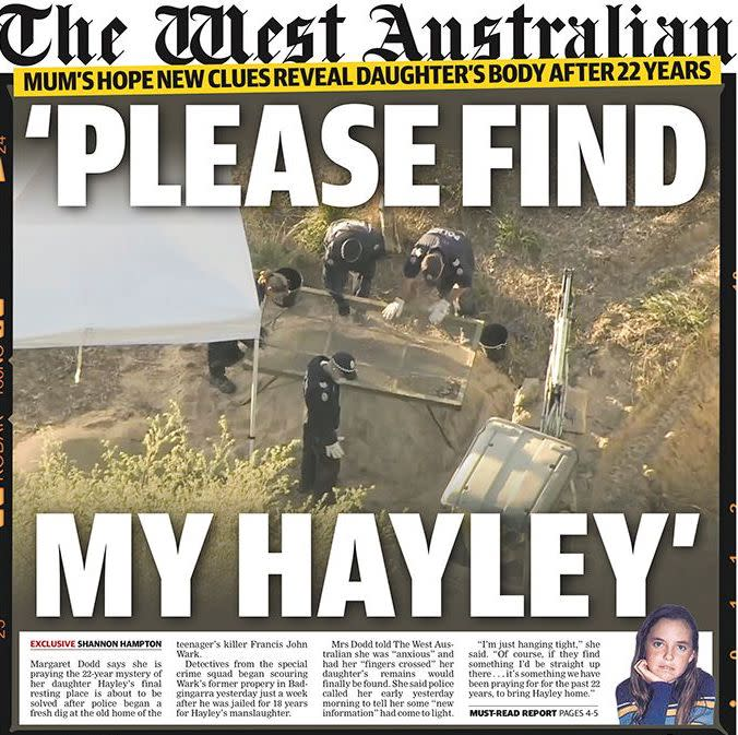The front page of The West Australian on Wednesday.