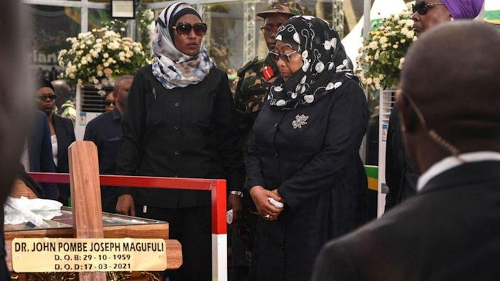 President Samia Suluhu Hassan led a procession of mourners on Saturday