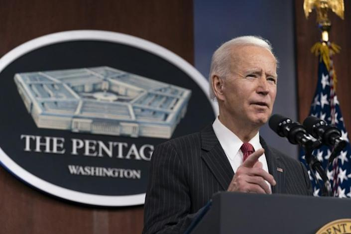 "On his first visit to the Pentagon as US President, Joe Biden highlighted his administration's ""diplomacy first"" approach"