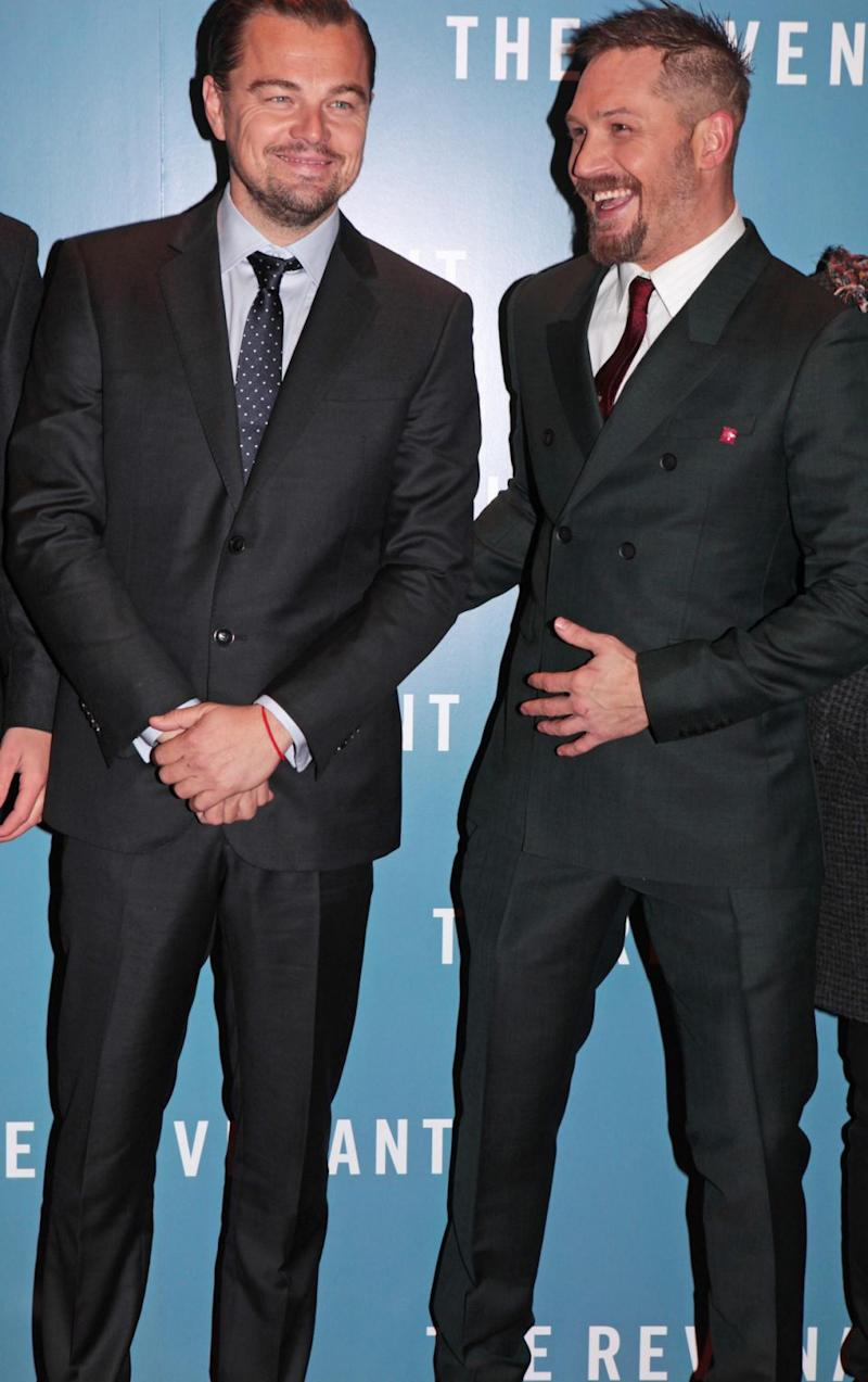 Leonardo DiCaprio (L) and Tom Hardy attend the UK Premiere of