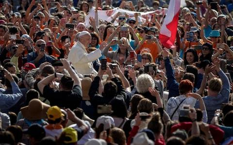 Pope Francis at his weekly address on April 25 2008, during which he reportedly praised exorcisms as a 'way to fight against evil' and 'escape from the power of sin' - Credit: Barcroft Media
