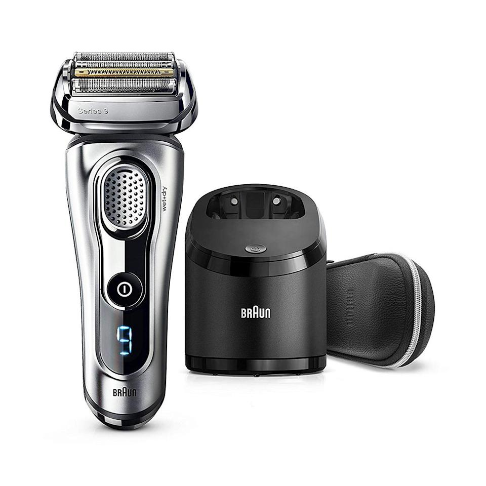 """<p><strong>Braun</strong></p><p>amazon.com</p><p><strong>$249.99</strong></p><p><a href=""""http://www.amazon.com/dp/B01M716CC2/?tag=syn-yahoo-20&ascsubtag=%5Bartid%7C2139.g.21347829%5Bsrc%7Cyahoo-us"""" target=""""_blank"""">BUY IT HERE</a></p><p>Considered the Bentley of shavers, this series 9 model is a top-of-the-line, premium electric razor that'll provide men with the most luxe and efficient shaving experience. Five shaving elements work together to cut through even the most difficult hairs with a 10-direction flexible head and special microvibration technology. </p>"""