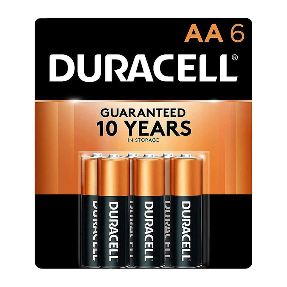 """<p><strong>Duracell</strong></p><p>amazon.com</p><p><strong>$5.98</strong></p><p><a href=""""https://www.amazon.com/dp/B000IZQO7U?tag=syn-yahoo-20&ascsubtag=%5Bartid%7C2141.g.32869392%5Bsrc%7Cyahoo-us"""" rel=""""nofollow noopener"""" target=""""_blank"""" data-ylk=""""slk:Shop Now"""" class=""""link rapid-noclick-resp"""">Shop Now</a></p><p>Overnight hikes require extra supplies, and some of them require power. Make sure all battery-operated equipment—especially lighting gear like flashlights and lamps—are ready to be used by swapping in new batteries before the hike and carry a few to spare in case you need it. This six-pack of AA batteries is small enough to carry in any backpack and will outlast a day or a week-long hiking-turned-camping trip. </p>"""