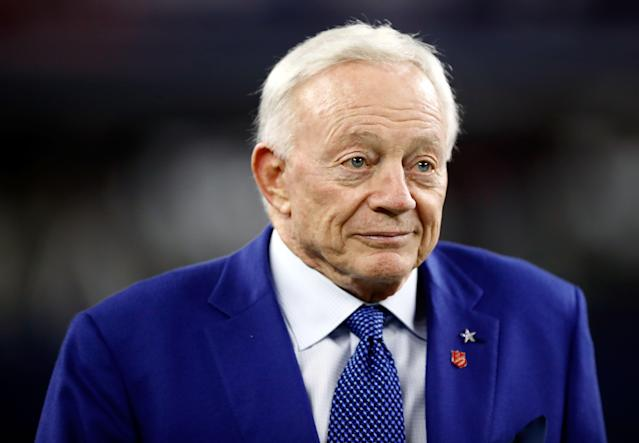 Jerry Jones, who was seen wearing a hat during the playing of the national anthem last month, declined to comment on the incident on Sunday. (Getty Images)