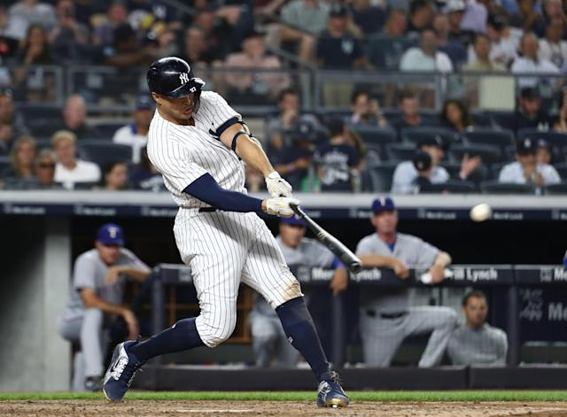 "<a class=""link rapid-noclick-resp"" href=""/mlb/teams/nyy"" data-ylk=""slk:New York Yankees"">New York Yankees</a> outfielder <a class=""link rapid-noclick-resp"" href=""/mlb/players/8634/"" data-ylk=""slk:Giancarlo Stanton"">Giancarlo Stanton</a> hit a home run against the <a class=""link rapid-noclick-resp"" href=""/mlb/teams/tex"" data-ylk=""slk:Texas Rangers"">Texas Rangers</a> on Thursday night that was clocked at 121.7 mph. (Getty Images)"