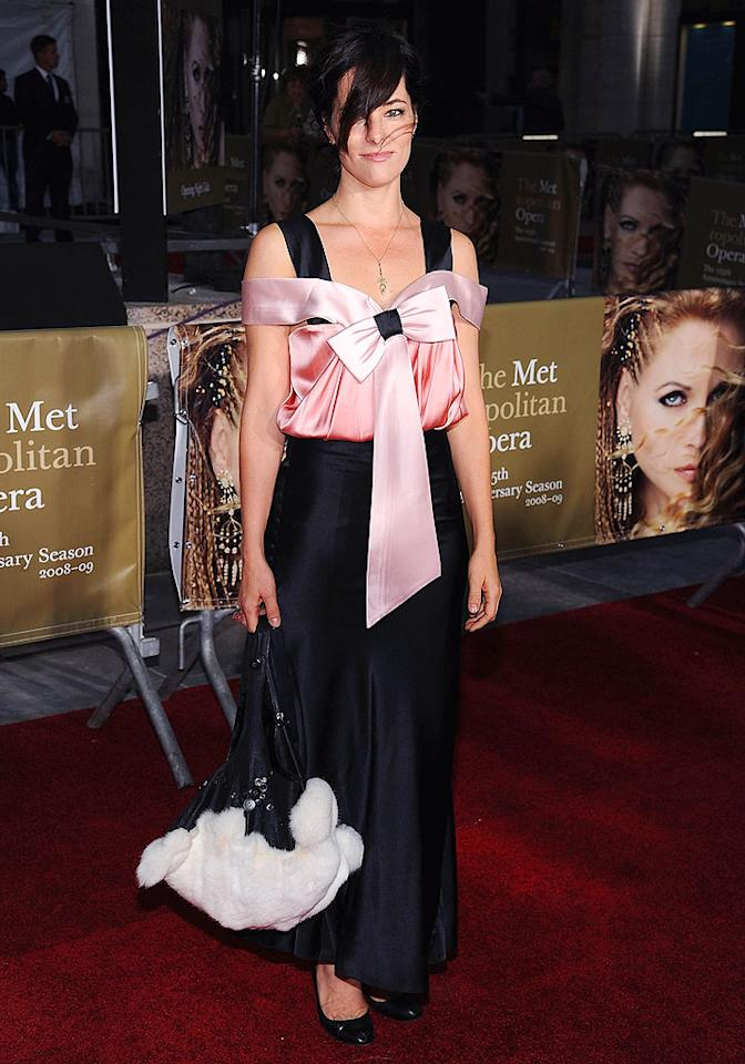 "Parker Posey (""Party Girl"") scowled while strutting down the red carpet in this questionable pink and black frock. Dimitrios Kambouris/<a href=""http://www.wireimage.com"" target=""new"">WireImage.com</a> - September 22, 2008"