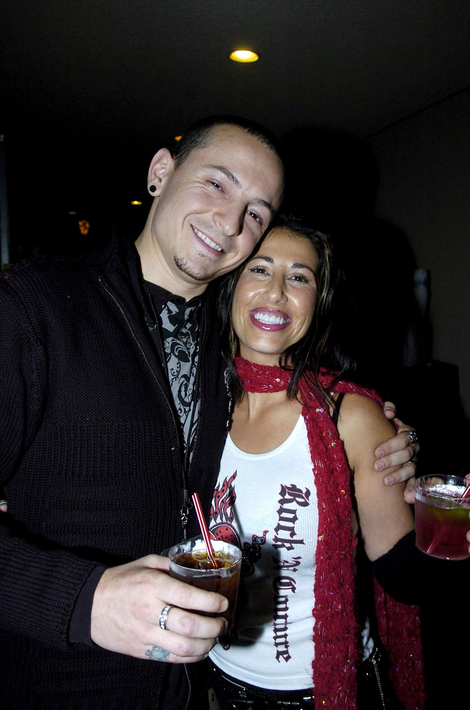 Chester Bennington and wife Samantha from Linkin Park**exclusive** ***Exclusive*** (Photo by Jeff Kravitz/FilmMagic, Inc)