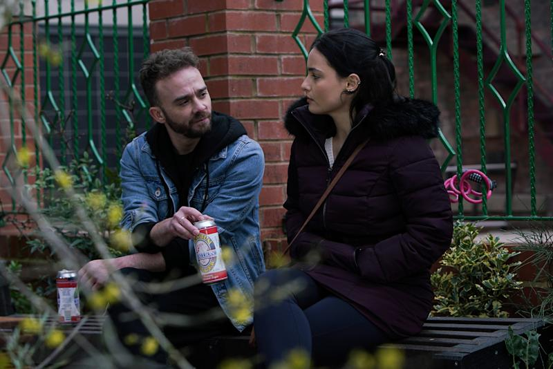 Finding a dejected Alina Pop [RUXANDRA POROJNICU] in Victoria Garden, David Platt [JACK P SHEPHERD] sits down and offers her a beer. Alina takes it and it's clear there's a spark between them. Before she can stop him, David texts Nick claiming Alina's ill and needs the rest of the day off. (ITV Plc)