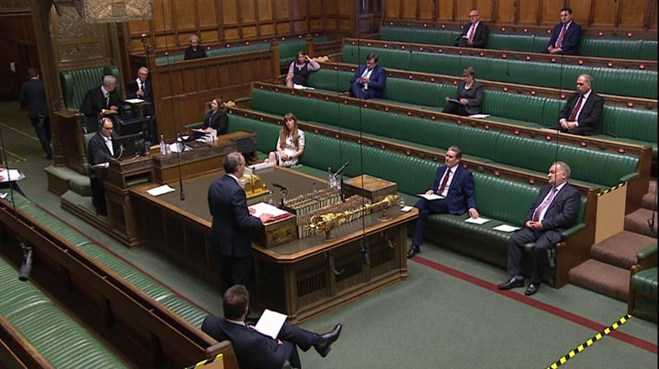 MP's Social distancing as Foreign secretary Dominic Raab speaks during Prime Minister's Questions in the House of Commons, London.