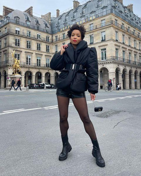 """<p>Tights, a puffer jacket and boots mean no matter the chill, you can try short shorts. </p><p><a class=""""link rapid-noclick-resp"""" href=""""https://go.redirectingat.com?id=127X1599956&url=https%3A%2F%2Fwww.asos.com%2Fmuubaa%2Fmuubaa-leather-city-shorts-in-black%2Fprd%2F21275123%3Fcolourwayid%3D60152775%26SearchQuery%3Dleather%2Bshorts&sref=https%3A%2F%2Fwww.elle.com%2Fuk%2Ffashion%2Fg29844296%2Fcasual-clothes%2F"""" rel=""""nofollow noopener"""" target=""""_blank"""" data-ylk=""""slk:SHOP NOW"""">SHOP NOW</a></p><p><a href=""""https://www.instagram.com/p/CKhQ8Ulh9Ox/"""" rel=""""nofollow noopener"""" target=""""_blank"""" data-ylk=""""slk:See the original post on Instagram"""" class=""""link rapid-noclick-resp"""">See the original post on Instagram</a></p>"""