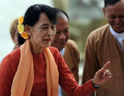 Myanmar's democracy leader Aung San Suu Kyi, pictured on July 11