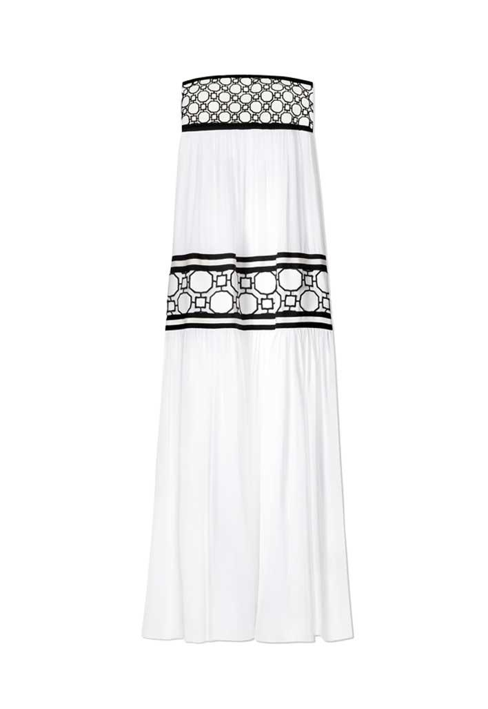 Strapless black and white silk georgette maxi dress.