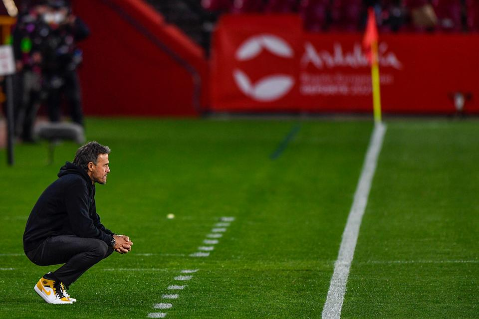 GRANADA, SPAIN - MARCH 25: coach Luis Enrique of Spain during the FIFA World Cup 2022 Qatar Qualifier match between Spain and Greece at Estadio Municipal Nuevo Los Carmenes on March 25, 2021 in Granada, Spain (Photo by Pablo Morano/BSR Agency/Getty Images)