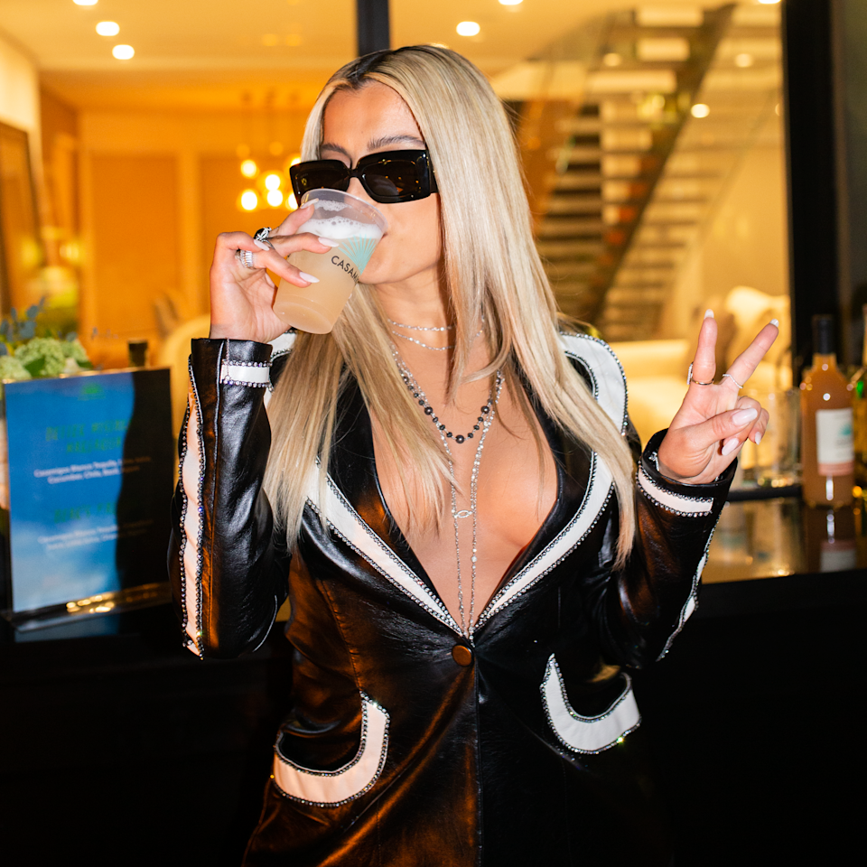 <p>Bebe Rexha sips a Casamigos cocktail on Thursday night during an intimate party in the Hollywood Hills to celebrate her new album, <em>Better Mistakes.</em></p>