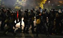 Police in Bishkek used water cannon, stun grenades and tear gas to disperse some of the protesters