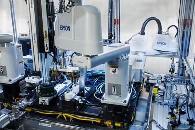 Epson robots at work with RND Automation's Hydraulic Valve Assembly Machine