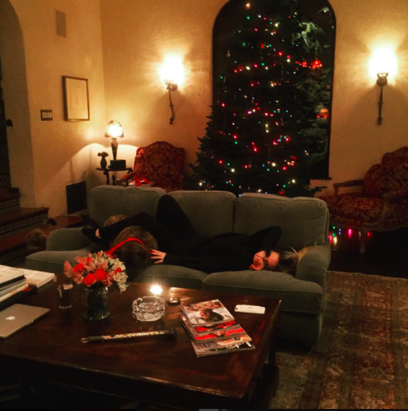 "<p>Melanie Griffith's Spanish-style home looked cozy as can be with her Christmas tree lighting up her front window and the actress lounging on the couch with her dog: ""Trimming time!! Merry Christmas y'all!!!"" (Photo: <a rel=""nofollow"" href=""https://www.instagram.com/p/BOL2gPgBwCc/"">Instagram</a>) </p>"