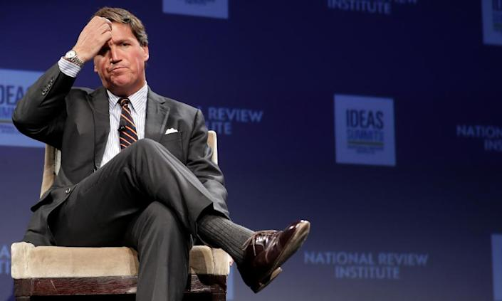 "<span class=""element-image__caption"">Earlier in July Tucker Carlson delivered an on-air diatribe against Ilhan Omar.</span> <span class=""element-image__credit"">Photograph: Chip Somodevilla/Getty Images</span>"