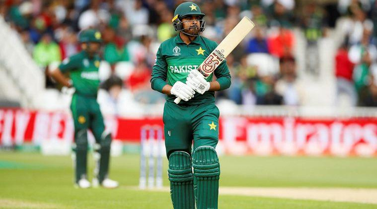 Pakistan's Haris Sohail walks back after losing his wicket against West Indies at Trent Bridge on Friday (Reuters Photo)