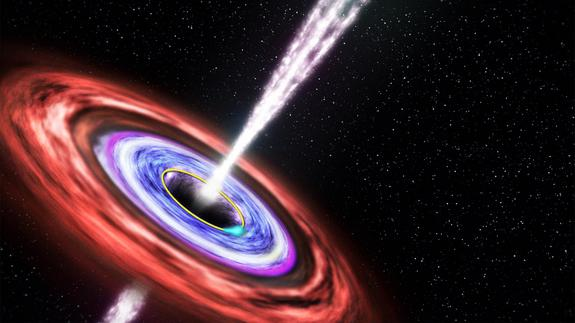 """This illustration shows an artist's view of Swift J1644+57, a black hole 3.9 billion light-years away. Scientists have picked up a signal thought to be the death """"scream"""" of a star falling into the black hole."""
