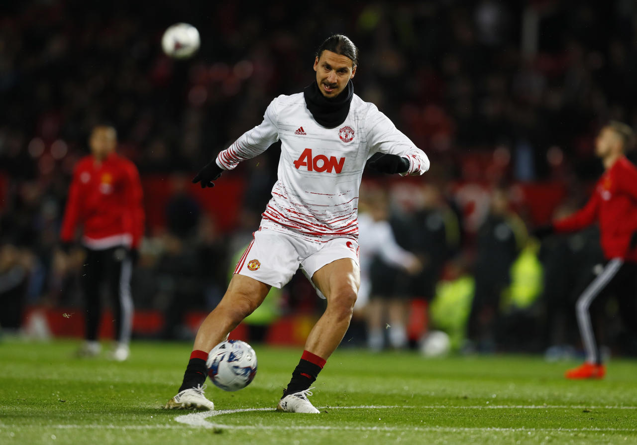 """Football Soccer Britain - Manchester United v Manchester City - EFL Cup Fourth Round - Old Trafford - 26/10/16 Manchester United's Zlatan Ibrahimovic warms up before the match  Action Images via Reuters / Jason Cairnduff Livepic EDITORIAL USE ONLY. No use with unauthorized audio, video, data, fixture lists, club/league logos or """"live"""" services. Online in-match use limited to 45 images, no video emulation. No use in betting, games or single club/league/player publications. Please contact your account representative for further details."""