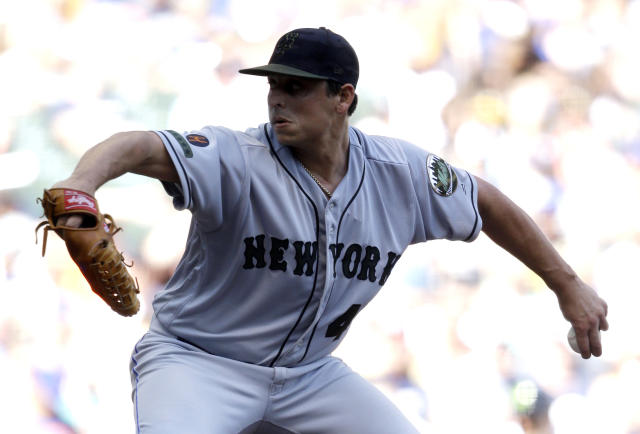 New York Mets starting pitcher Jason Vargas throws to the Milwaukee Brewers during the first inning of a baseball game Saturday, May 26, 2018, in Milwaukee. (AP Photo/Jeffrey Phelps)