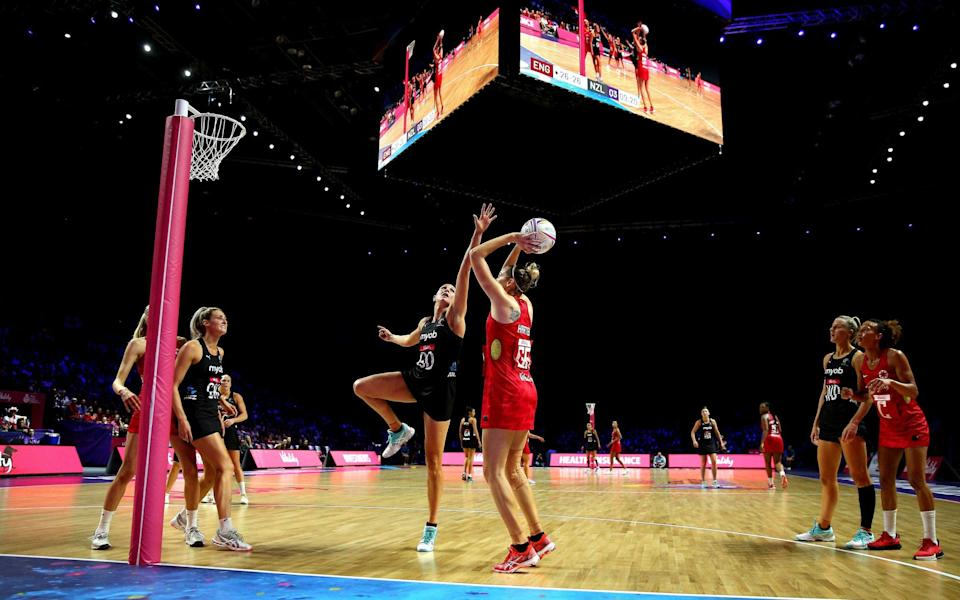 A general view of the match action between England and New Zealand during the Netball World Cup match at the M&S Bank Arena - PA
