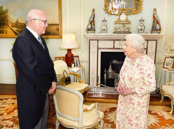 PHOTO: Queen Elizabeth II talks with the Honorable George Brandis, the Australian High Commissioner to the United Kingdom, during a private audience at Buckingham Palace, May 30, 2018, in London. (John Stillwell/WPA Pool/Getty Images)